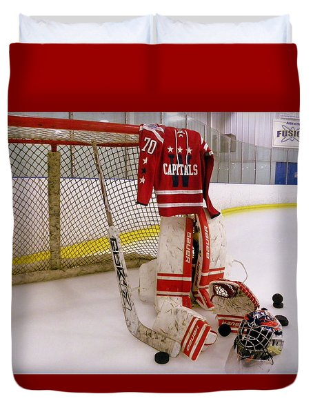 Washington Capitals Braden Holtby Winter Classic 2015 Jersey Duvet Cover