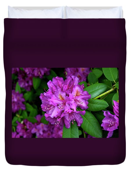 Washington Coastal Rhododendron Duvet Cover
