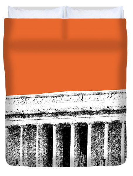 Washington Dc Skyline Lincoln Memorial - Coral Duvet Cover