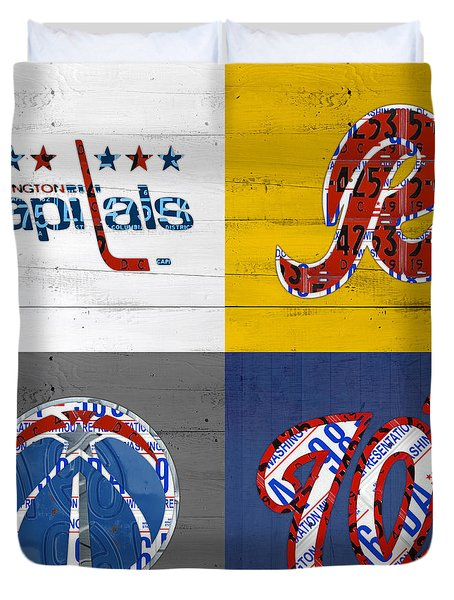 Washington Dc Sports Fan Recycled Vintage License Plate Art Capitals Redskins Wizards Nationals Duvet Cover by Design Turnpike