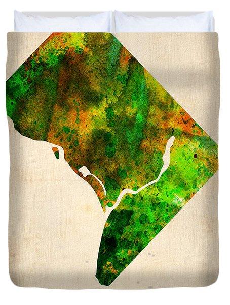 Washington Dc Watercolor Map Duvet Cover by Naxart Studio