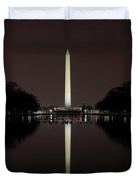 Washington Monument Reflections At Night Duvet Cover