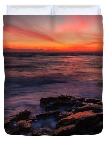 Washington Oaks Winter Sunrise Duvet Cover