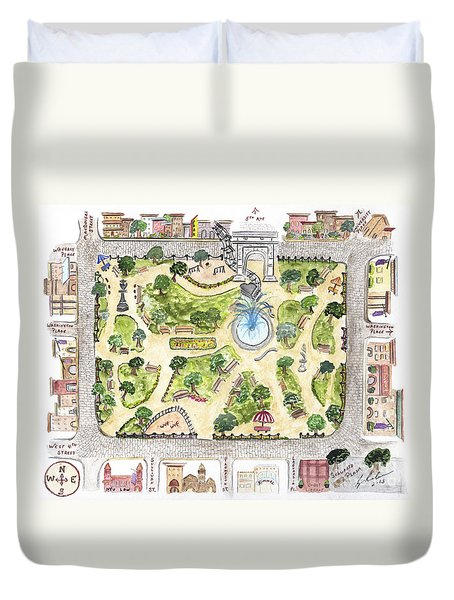 Washington Square Park Map Duvet Cover