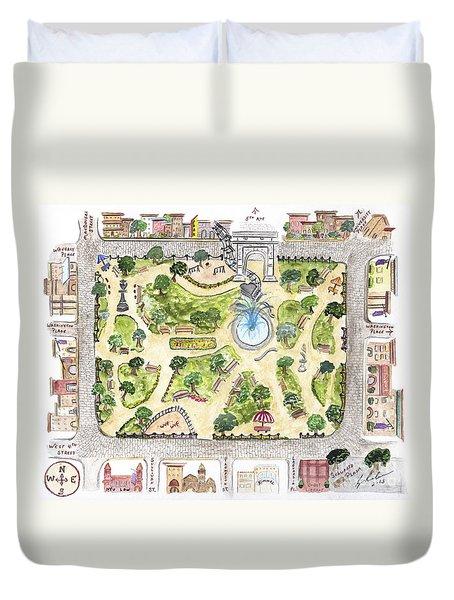 Washington Square Park Map Duvet Cover by AFineLyne