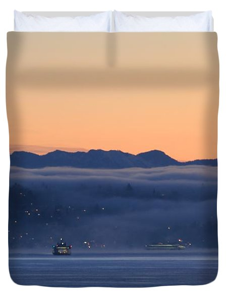 Duvet Cover featuring the photograph Washington State Ferries At Dawn by E Faithe Lester
