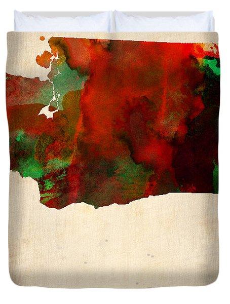 Washington Watercolor Map Duvet Cover by Naxart Studio