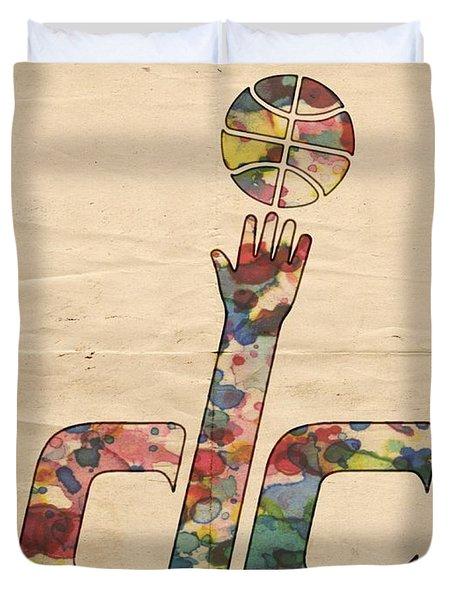 Washington Wizards Retro Poster Duvet Cover by Florian Rodarte