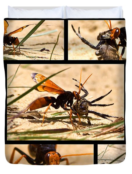 Duvet Cover featuring the photograph Wasp And His Kill by Miroslava Jurcik