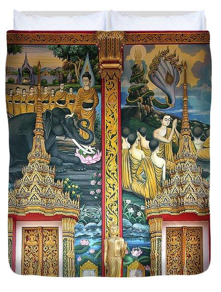 Wat Choeng Thale Ordination Hall Facade Dthp143 Duvet Cover by Gerry Gantt