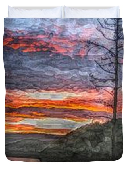 Watauga Lake Sunset Duvet Cover