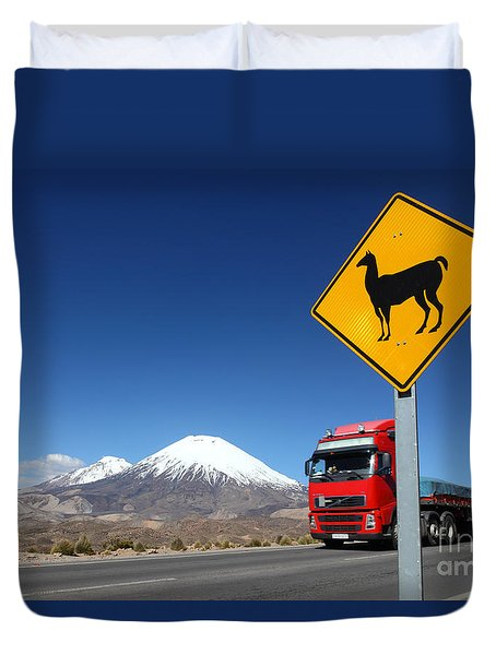 Watch Out For Llamas Duvet Cover by James Brunker