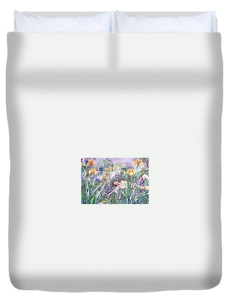 Watching Dragonflies  Duvet Cover by Trudi Doyle