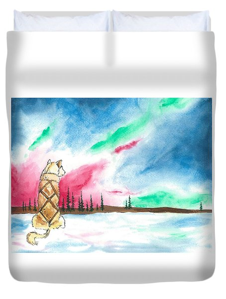 Watching The Lights Duvet Cover by Sarah Glass