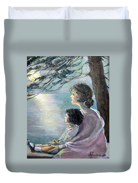 Duvet Cover featuring the painting Watching The Moon by Donna Tucker