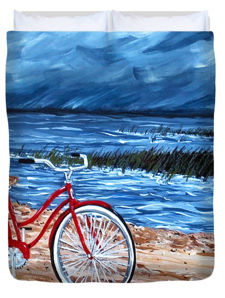 Duvet Cover featuring the painting Watching The Storm by Jackie Carpenter