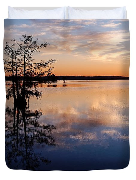 Watching The Sunset At Ba Steinhagen Lake Martin Dies Jr. State Park - Jasper East Texas Duvet Cover