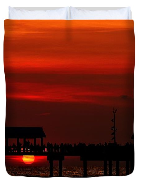 Duvet Cover featuring the photograph Watching The Sunset by Richard Zentner
