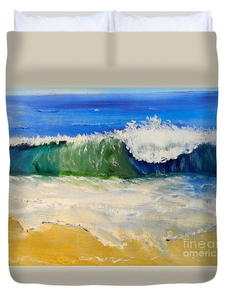 Watching The Wave As Come On The Beach Duvet Cover