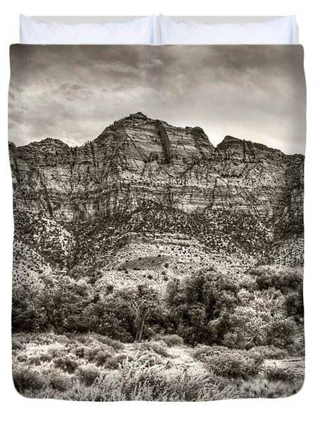 Duvet Cover featuring the photograph Watchman Trail In Sepia - Zion by Tammy Wetzel