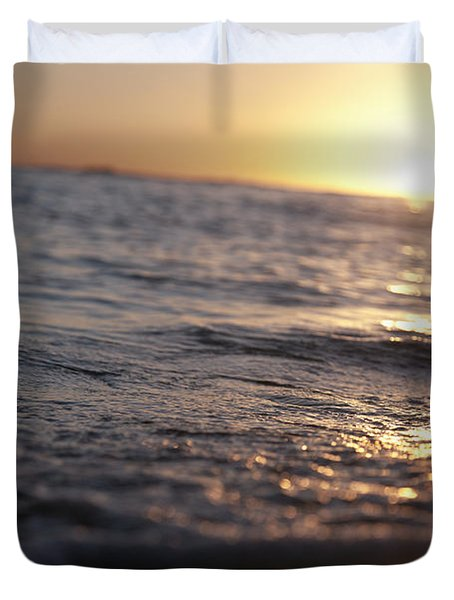 Water At Sunset Duvet Cover by Brandon Tabiolo