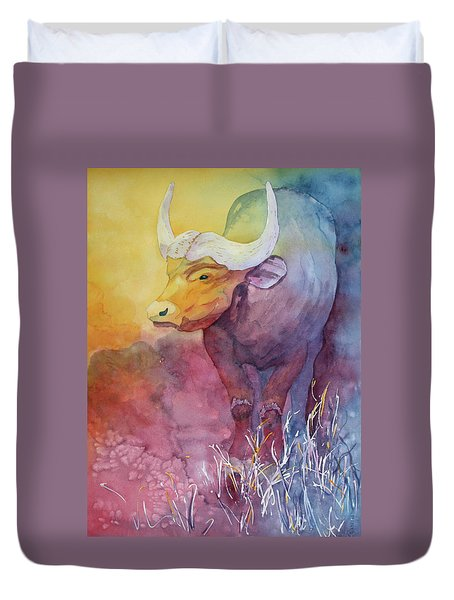 Duvet Cover featuring the painting Water Buffalo by Nancy Jolley