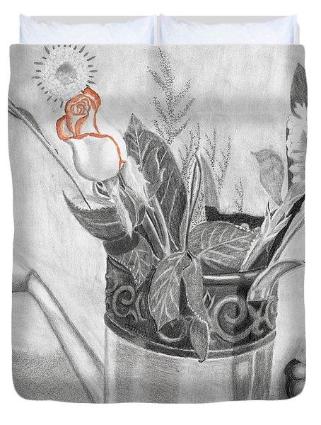 Water Can Bouquet Duvet Cover by Susan Schmitz