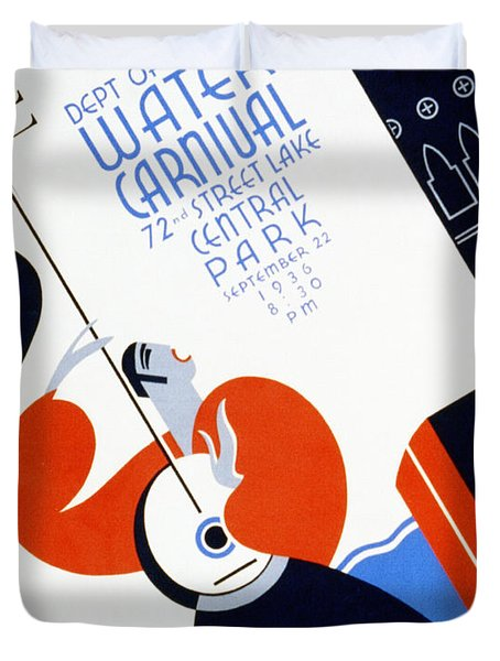Water Carnival Poster 1936 Duvet Cover by Digital Reproductions