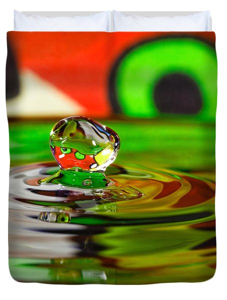 Duvet Cover featuring the photograph Water Drop by Peter Lakomy