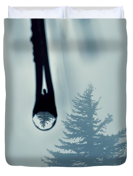 Water Drop With Tree Reflection Duvet Cover by Dan Friend