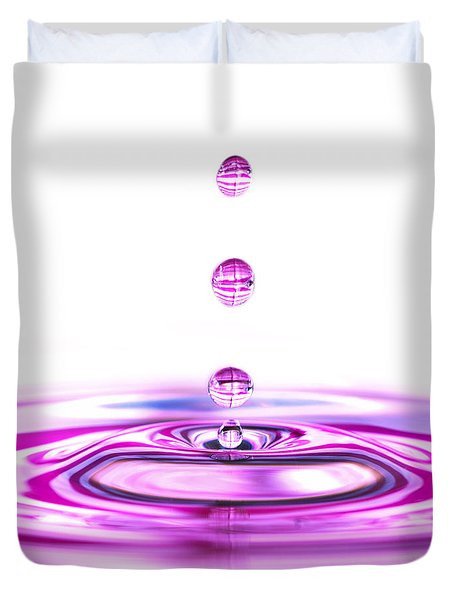 Water Droplets White And Purple Duvet Cover