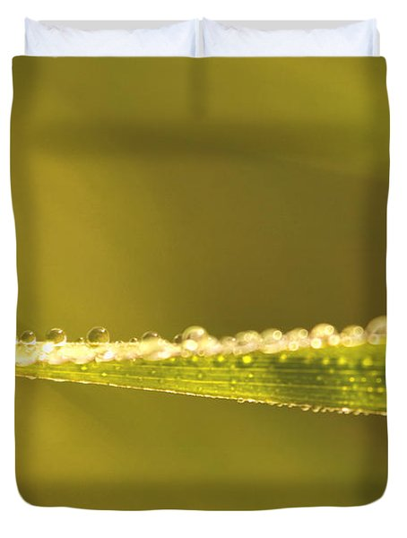 Water Drops On A Leaf Duvet Cover by Peggy Collins