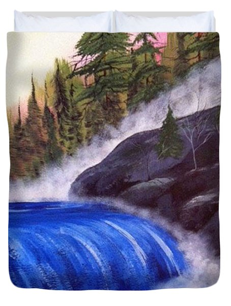 Duvet Cover featuring the painting Water Fall By Rocks by Brenda Brown