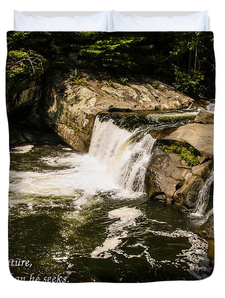Water Fall With John Muir Quote Duvet Cover