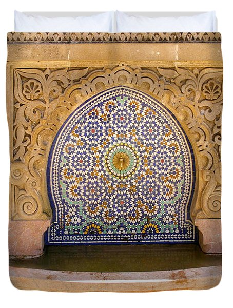 Duvet Cover featuring the photograph Water Fountain Mausoleum Of Mohammed V Opposite Hassan Tower Rabat Morocco  by Ralph A  Ledergerber-Photography