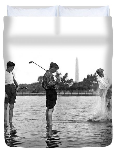 Water Hazard On Golf Course Duvet Cover