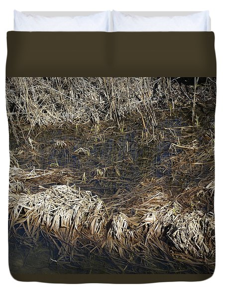 Duvet Cover featuring the photograph Dried Grass In The Water by Teo SITCHET-KANDA
