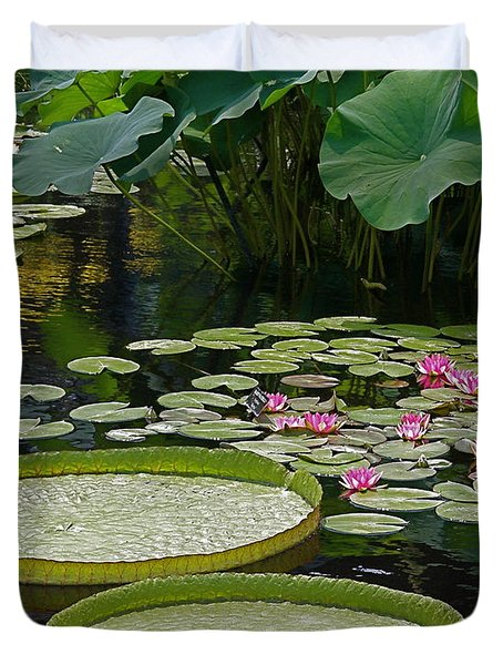 Duvet Cover featuring the photograph Water Lilies And Platters And Lotus Leaves by Byron Varvarigos