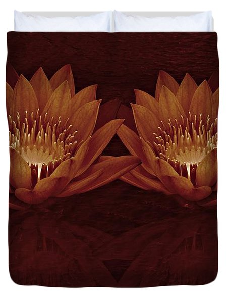 Water Lilies In Deep Sepia Duvet Cover