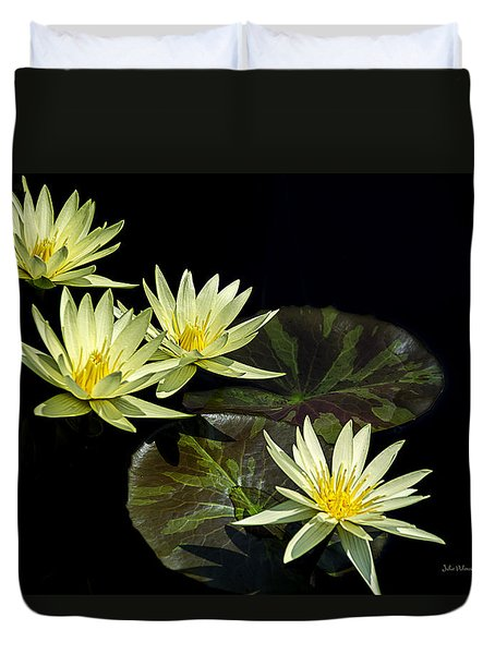 Water Lilies In Yellow Duvet Cover