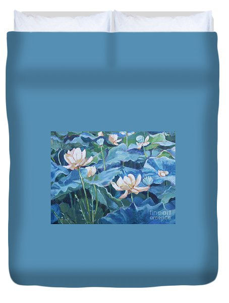 Water Lilies Two Duvet Cover by Jan Bennicoff