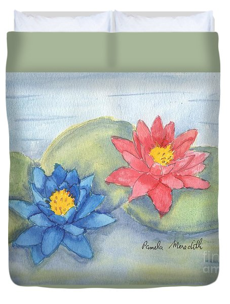 Water   Lillies  Duvet Cover by Pamela  Meredith