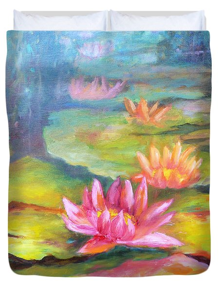 Water Lilly Pond Duvet Cover by Carolyn Jarvis