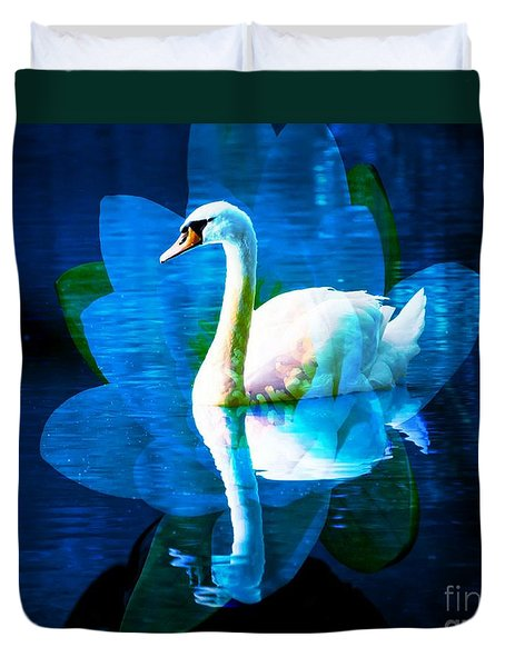Water Lily And Swan Duvet Cover by Annie Zeno
