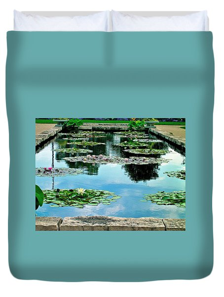 Duvet Cover featuring the photograph Water Lily Garden by Zafer Gurel