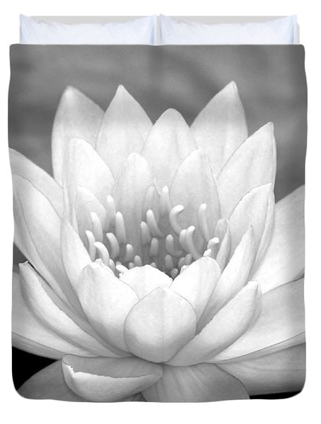 Water Lily In Black And White Duvet Cover by Sabrina L Ryan