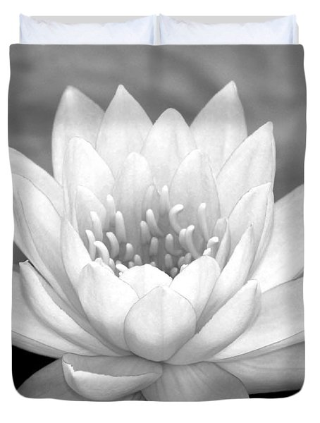 Water Lily In Black And White Duvet Cover