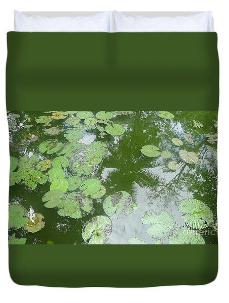 Water Lily Leaves And Palm Trees Duvet Cover