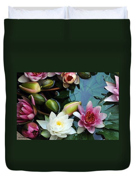 Duvet Cover featuring the photograph Water Lily Series 1 by Haleh Mahbod