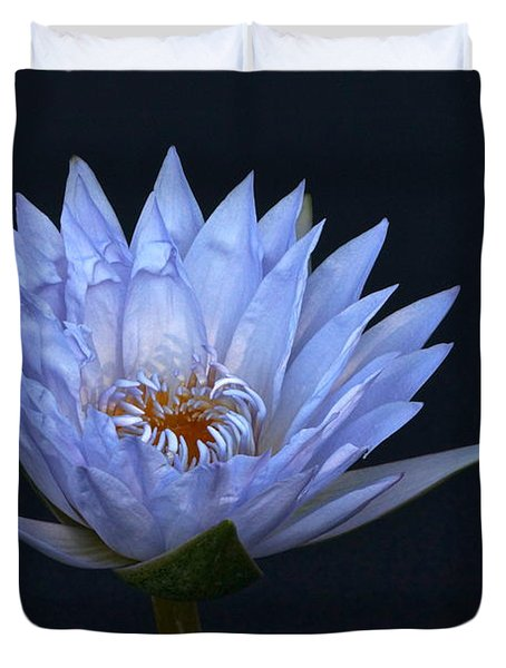 Water Lily Shades Of Blue And Lavender Duvet Cover